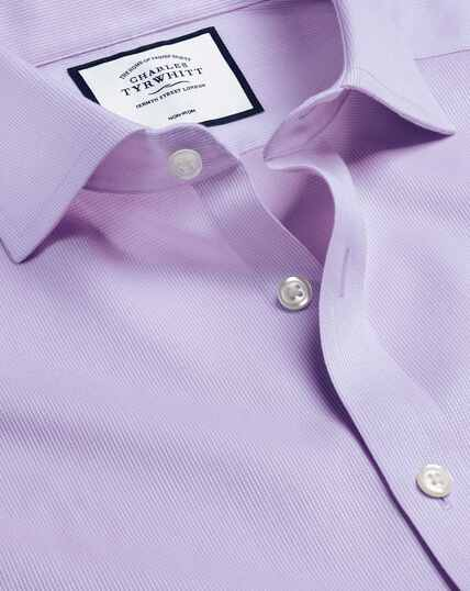 Cutaway Collar Non-Iron Cotton Stretch Shirt - Lilac