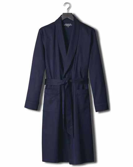 Navy herringbone robe