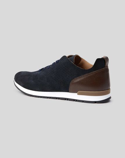 Suede Sneaker - Navy & Brown