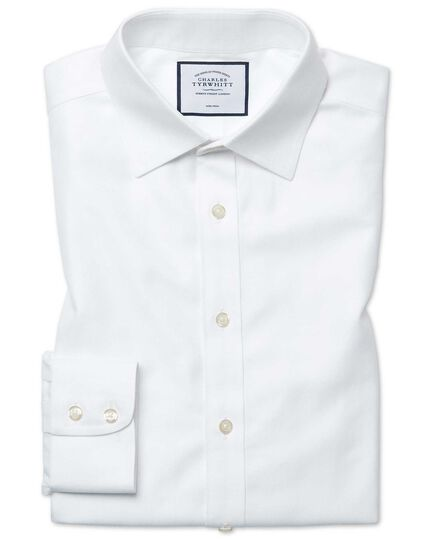 Classic fit non-iron herringbone white shirt
