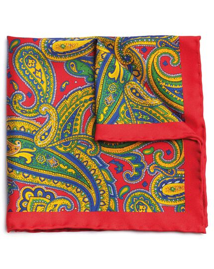 Red silk paisley printed pocket square