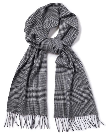 Navy Prince of Wales check cashmere scarf