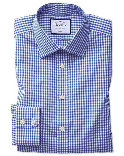 Classic fit non-iron twill royal blue check shirt