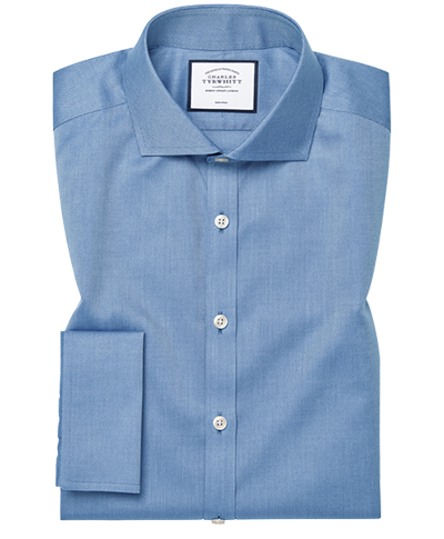 Super slim fit cutaway non-iron twill blue shirt