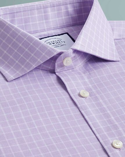Extra slim fit textured check  lilac shirt