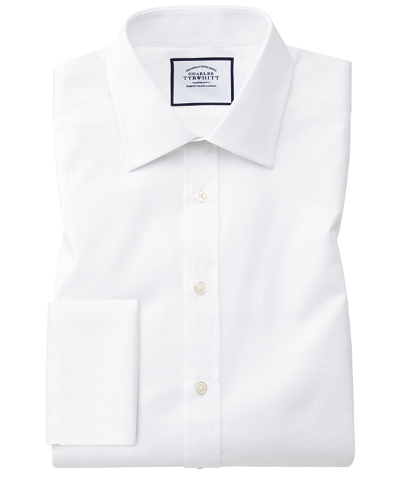Slim fit white cube weave Egyptian cotton shirt