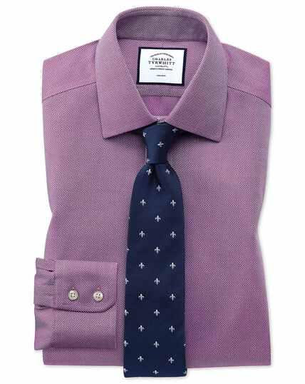Chemise myrtille avec armure à chevrons extra slim fit sans repassage