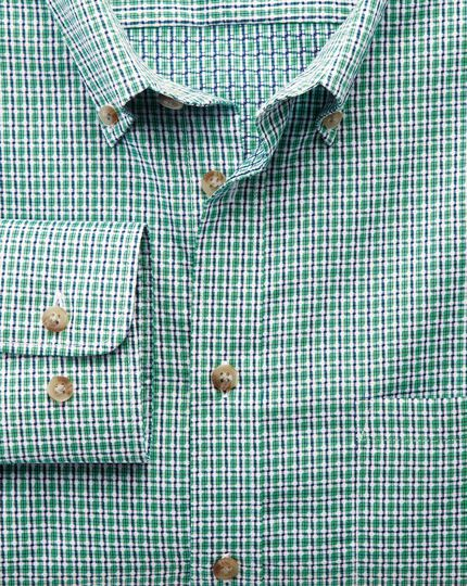 Extra slim fit non-iron poplin green and navy check shirt