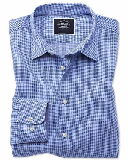 Classic fit royal blue micro check soft texture shirt