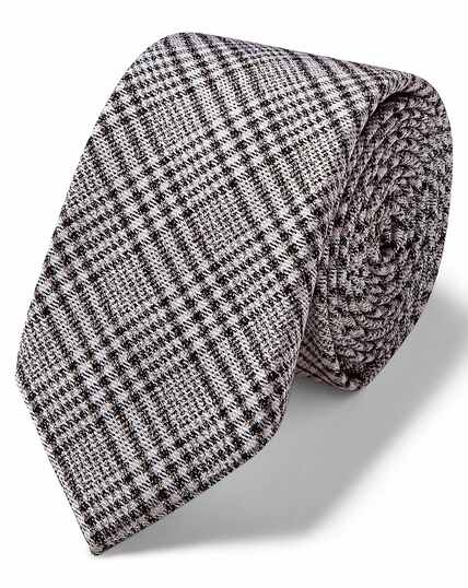 Grey Prince of Wales check slim tie
