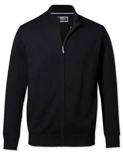 Black merino wool zip front cardigan
