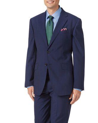 Classic Fit Businessanzug aus Panama-Gewebe mit Streifen in Marineblau
