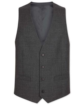 Grey adjustable fit merino business suit waistcoat
