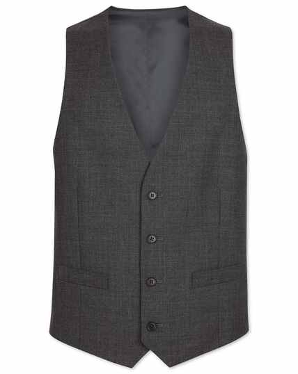 Grey adjustable fit merino business suit waistcoat