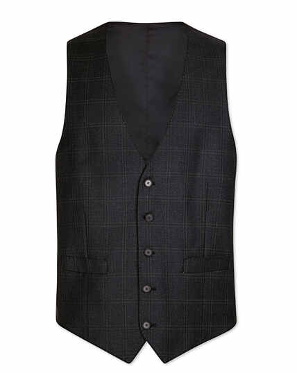 Grey check adjustable fit birdseye travel suit vest