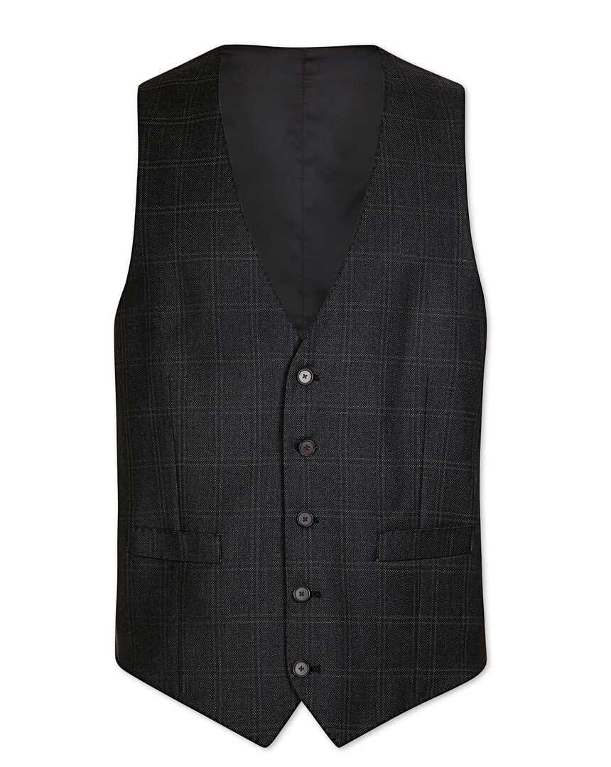 Grey check adjustable fit birdseye travel suit vest