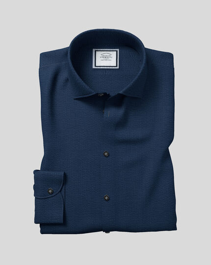 Business Casual Collar Cotton Seersucker With TENCEL™ Shirt - Navy