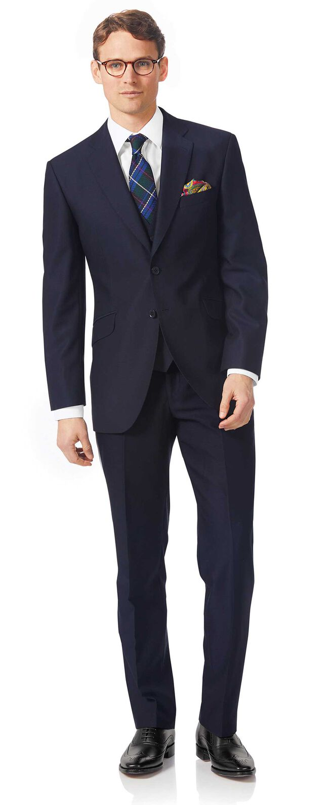 Navy classic fit textured Italian suit