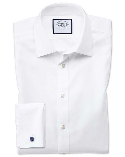 Non-Iron Step Weave Shirt - White