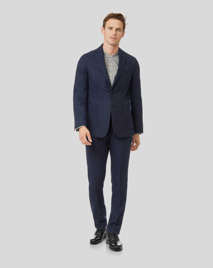 Textured Wool Blend Suit - Navy