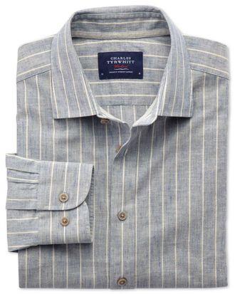 Chemise bleu jean extra slim fit texturée à rayures