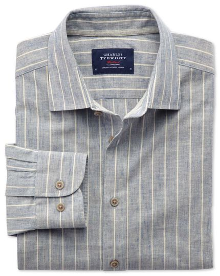 Extra slim fit denim blue stripe textured shirt