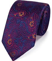 Magenta silk abstract paisley English luxury tie