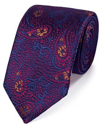 Magenta silk abstarct paisley English luxury tie