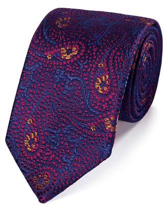 Magenta silk abstract paisley English luxury tie