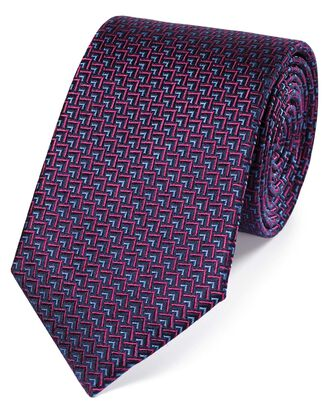 Pink and blue silk triangle geometric classic tie