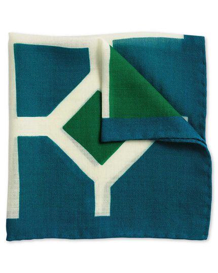 Green and blue luxury Italian print pocket square