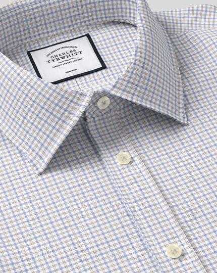 Classic Collar Non-Iron Twill Check Shirt - Orange & Blue
