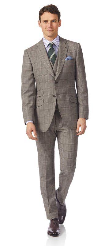 Luxuriöser britischer Anzug Slim Fit Prince-of-Wales-Karos Grau