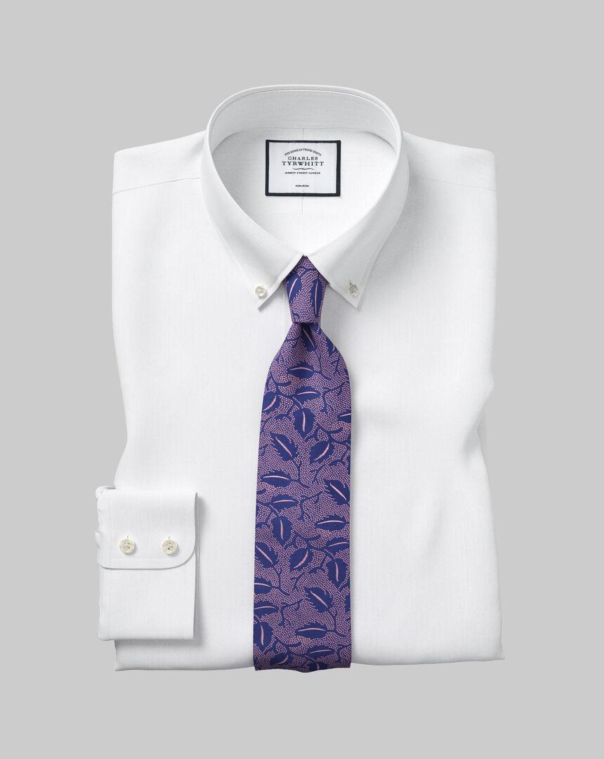 Bügelfreies Twill Hemd mit Button-down-Kragen  - Weiß
