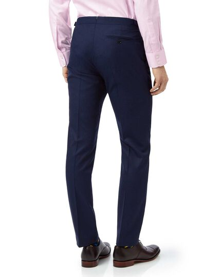 Blue slim fit British luxury suit trousers
