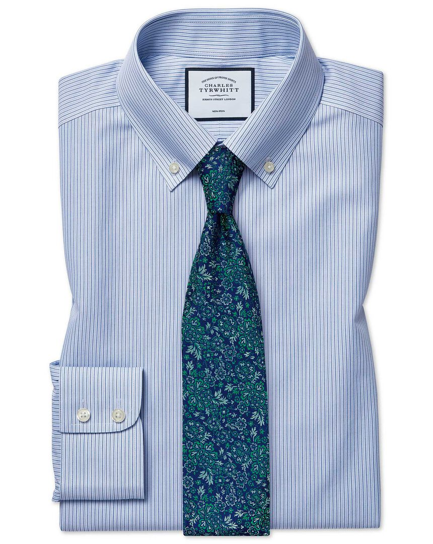 Classic fit non-iron stripe button-down blue shirt