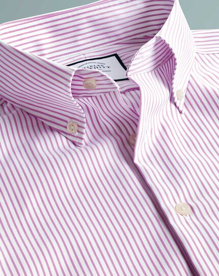Business Casual Non-Iron Button-Down Stripe Shirt - Pink