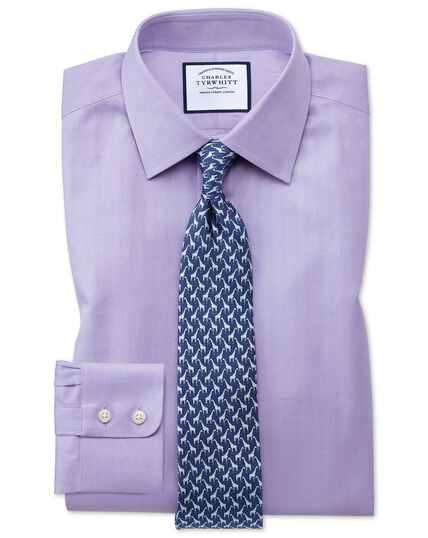 Fine Herringbone Shirt - Lilac