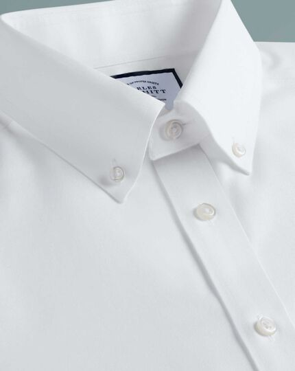 Classic fit button-down non-iron twill white shirt