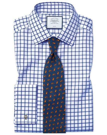 Chemise bleu roi slim fit en twill à carreaux simples sans repassage