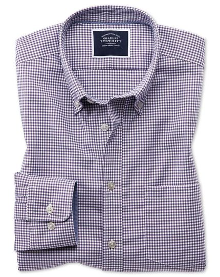 Classic fit purple gingham soft washed non-iron stretch shirt