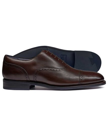 Chocolate Goodyear welted Oxford brogue performance shoes