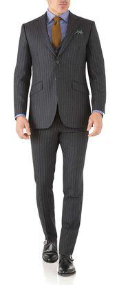 Charcoal stripe slim fit flannel business suit