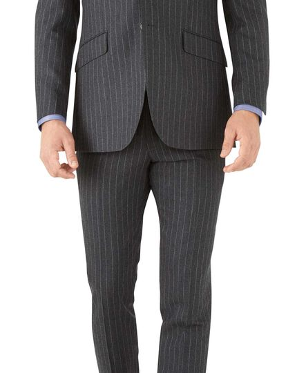 Charcoal stripe slim fit flannel business suit jacket