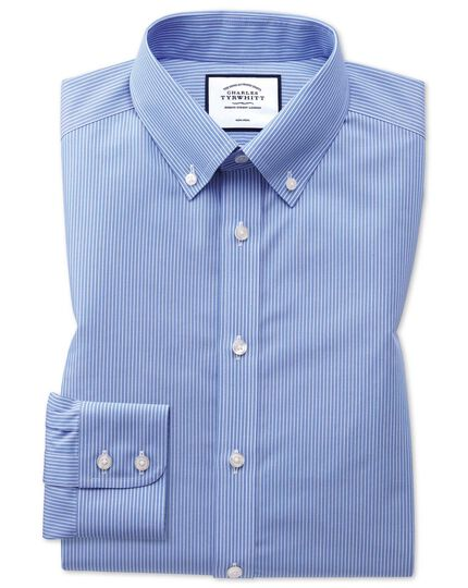 Slim fit button-down non-iron blue and white stripe shirt