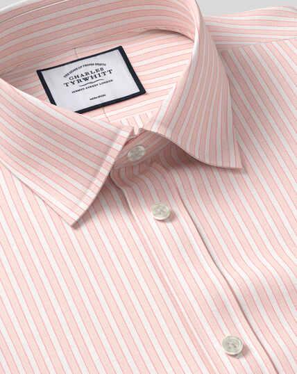 Classic Collar Non-Iron Poplin Stripe Shirt- Coral