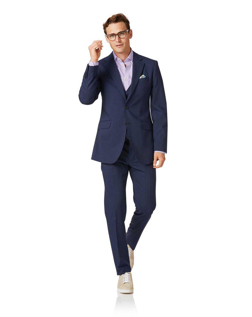 Navy slim fit step weave suit