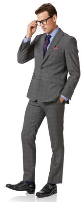 Light grey check slim fit twist business suit