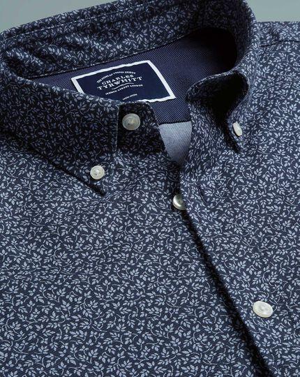 Extra slim fit navy print soft wash non-iron twill shirt