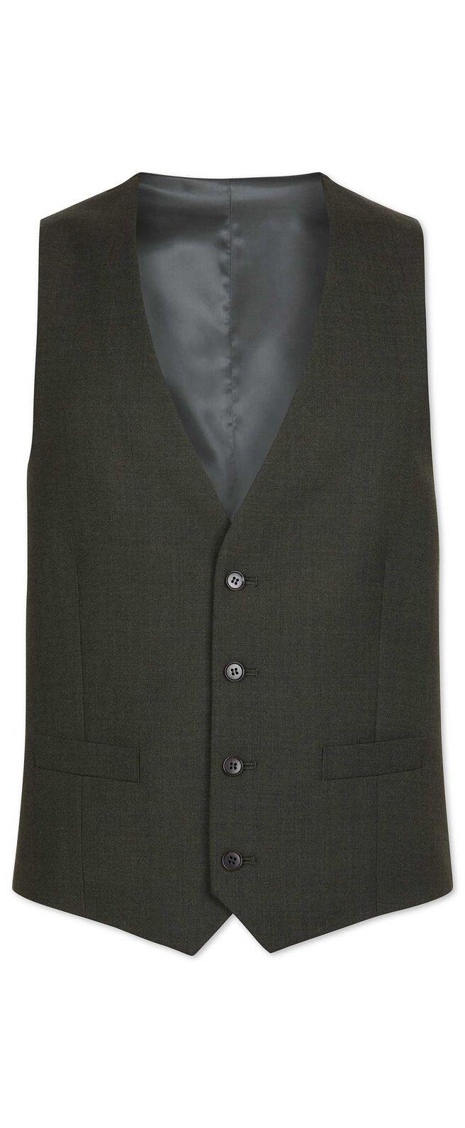 Green slim fit merino business suit